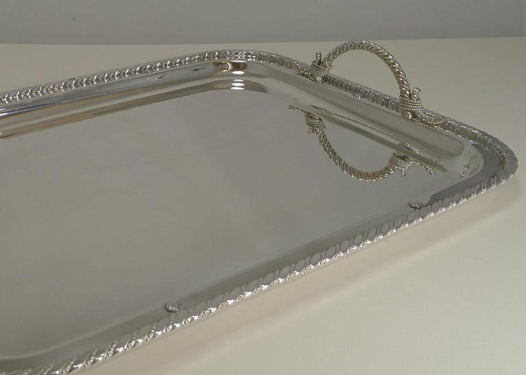 French Vintage Christian Dior Silver Plated Serving Tray, circa 1970 For Sale