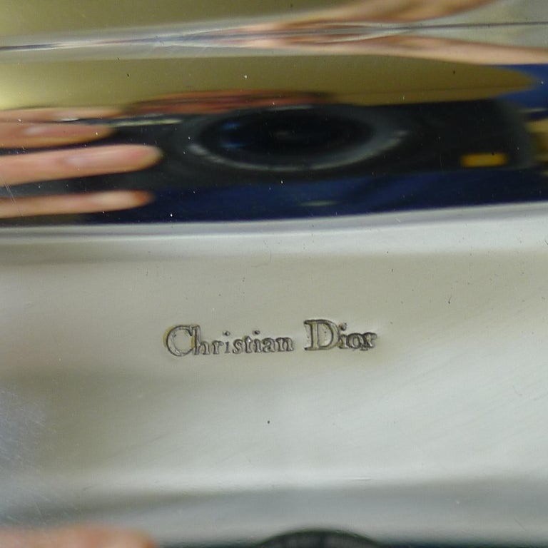 Late 20th Century Vintage Christian Dior Silver Plated Serving Tray, circa 1970 For Sale