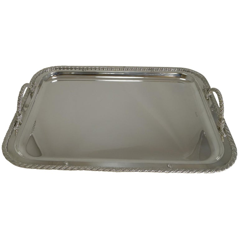 Vintage Christian Dior Silver Plated Serving Tray, circa 1970 For Sale