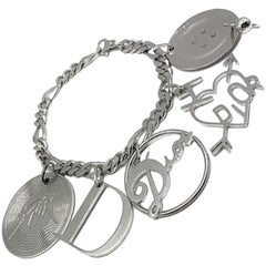 Vintage Christian Dior Silver Retro Logo Charm Bracelet 1990s