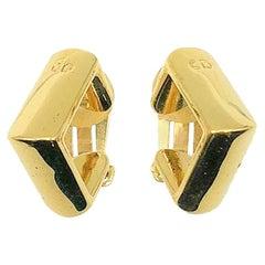 Vintage Christian Dior Square Hoop Huggie Earrings 1980s