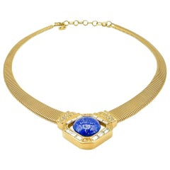 Vintage Christian Dior Statement Lapis Collar  Necklace 1980s