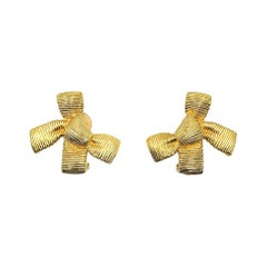 Vintage Christian Dior Textured Bow Earrings 1980s