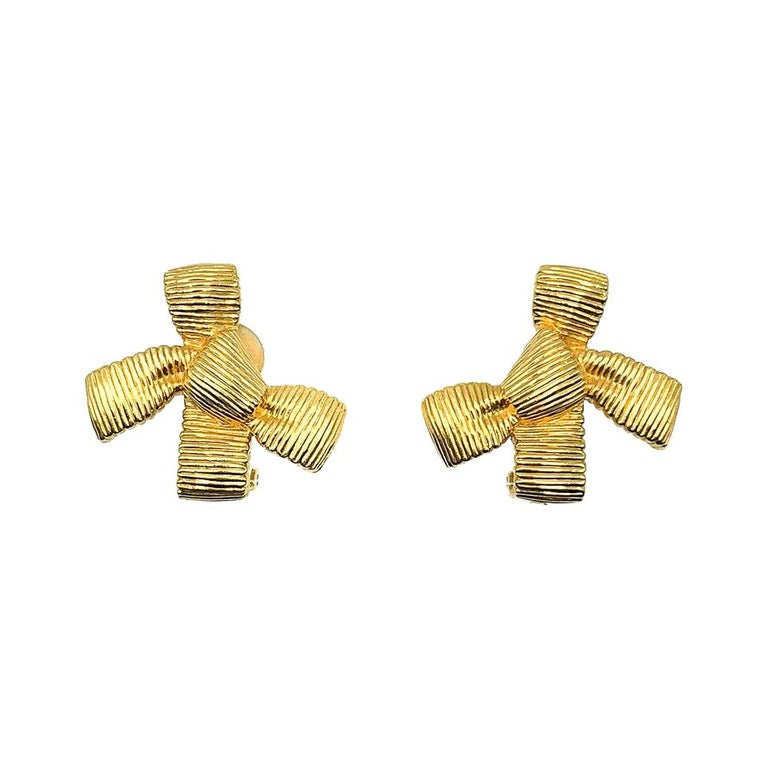 Vintage Christian Dior Textured Bow Earrings 1980s For Sale