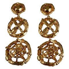 Vintage CHRISTIAN LACROIX 3 Tiered Nautical Wheel Dangling Earrings