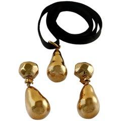 Vintage CHRISTIAN LACROIX Aubergine Drop Earrings Pendant Necklace Set