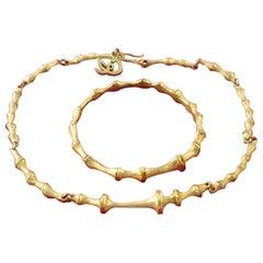 Vintage CHRISTIAN LACROIX Bamboo Bracelet Necklace Set