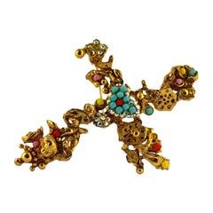 Vintage CHRISTIAN LACROIX Baroque Cross Cherub Jeweled Pendant Brooch