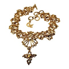 Vintage CHRISTIAN LACROIX Baroque Heart Link Cross Choker Necklace