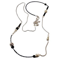 Vintage CHRISTIAN LACROIX Beaded Rhinestone Thread Leather Chain Long Necklace