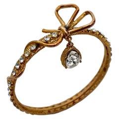 Vintage CHRISTIAN LACROIX Bow Rhinestones Charm Bangle Bracelet