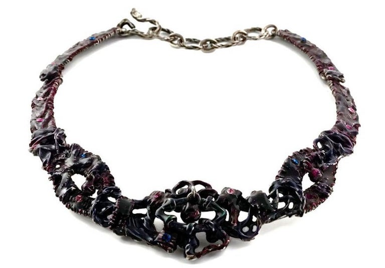 Women's Vintage CHRISTIAN LACROIX Brutalist Enamel Rhinestones Choker Necklace For Sale