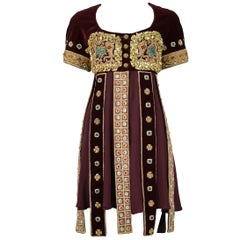 Vintage Christian Lacroix Burgundy Velvet Bejewelled Gladiator Dress 1988