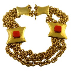 Vintage CHRISTIAN LACROIX Byzantine Cabochon Tiered Chain Plate Necklace