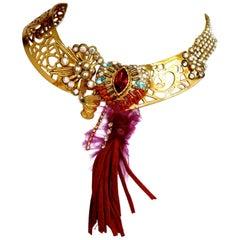 Vintage CHRISTIAN LACROIX Byzantine Leather tassel Choker Necklace