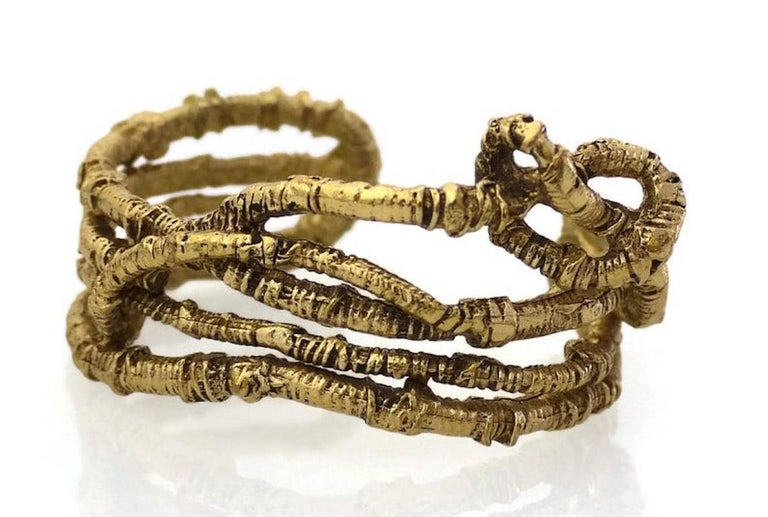 Women's Vintage CHRISTIAN LACROIX Coiled Knotted Wire Rigid Cuff Bracelet  For Sale