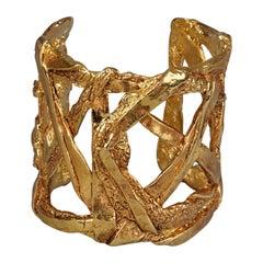Vintage CHRISTIAN LACROIX Crisscross Textured Cuff Bracelet