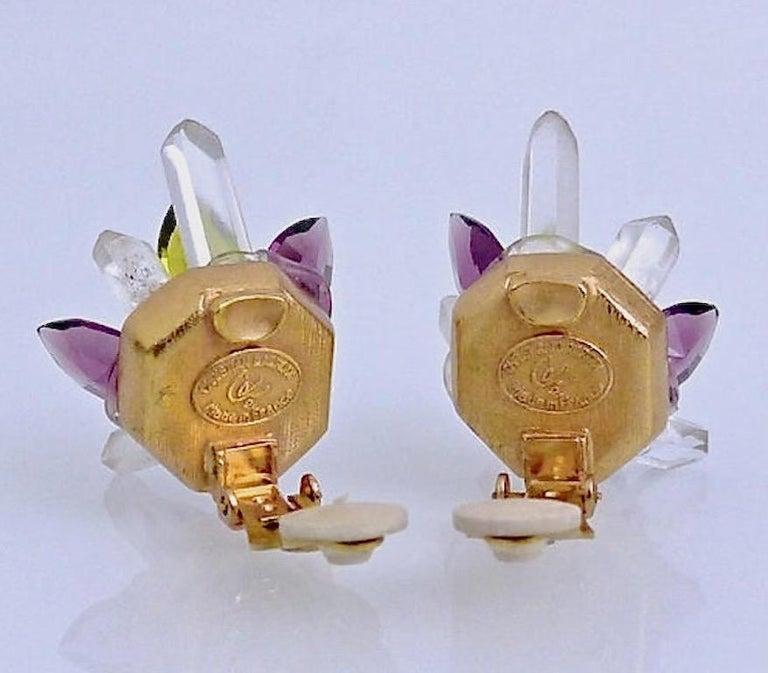 Vintage Christian Lacroix Crystal Quartz Earrings In Excellent Condition For Sale In Kingersheim, Alsace