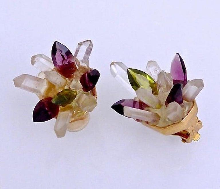 Women's Vintage Christian Lacroix Crystal Quartz Earrings For Sale