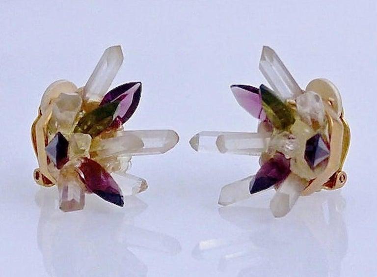 Vintage Christian Lacroix Crystal Quartz Earrings For Sale 1