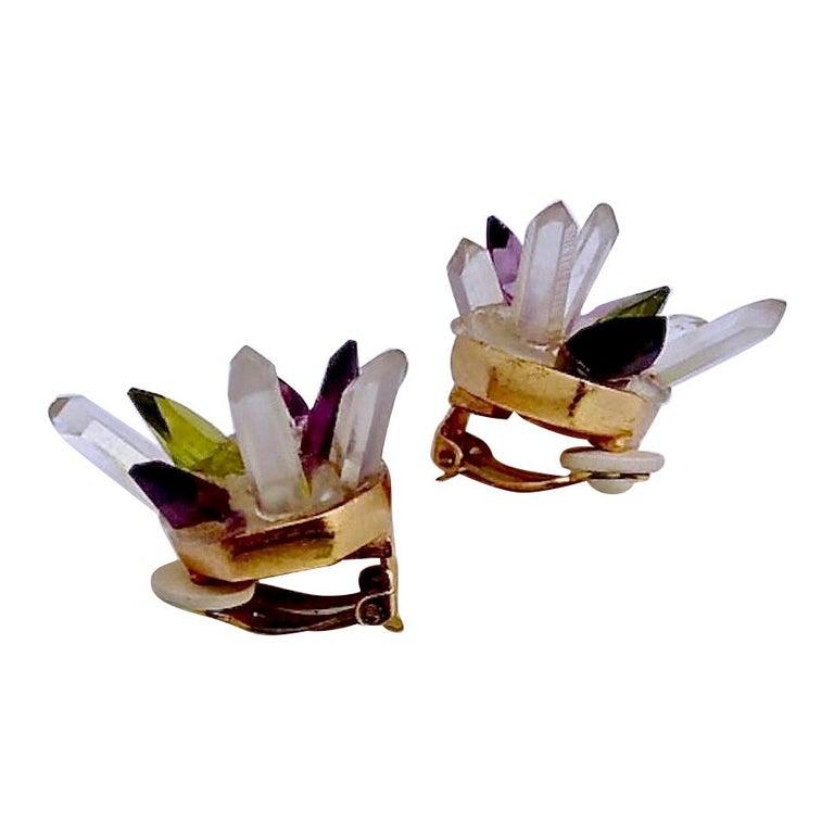 Vintage Christian Lacroix Crystal Quartz Earrings For Sale