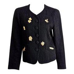 Vintage CHRISTIAN LACROIX Figural Jewelled Metal Applique Blazer Jacket