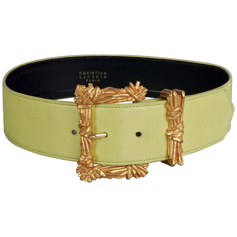 Vintage CHRISTIAN LACROIX Gilt Bundle Sticks Buckle Lime Green Leather Belt