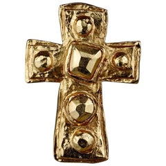 Vintage CHRISTIAN LACROIX Gilt Hammered Cross Pendant Brooch