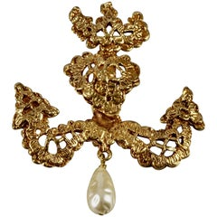 Vintage CHRISTIAN LACROIX Gilt Lace Anchor Dangling Pearl Brooch
