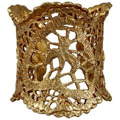 Vintage CHRISTIAN LACROIX Gilt Openwork Lace Cuff Bracelet