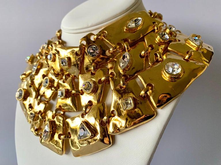 Contemporary Vintage Christian Lacroix Gold Diamante Statement Runway Necklace For Sale