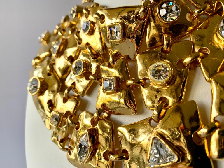 Vintage Christian Lacroix Gold Diamante Statement Runway Necklace In Excellent Condition For Sale In Palm Springs, CA