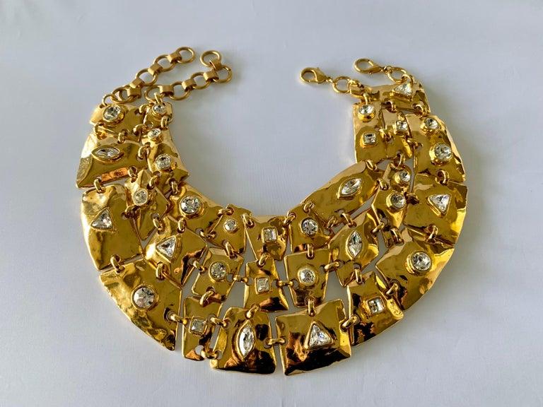 Women's Vintage Christian Lacroix Gold Diamante Statement Runway Necklace For Sale