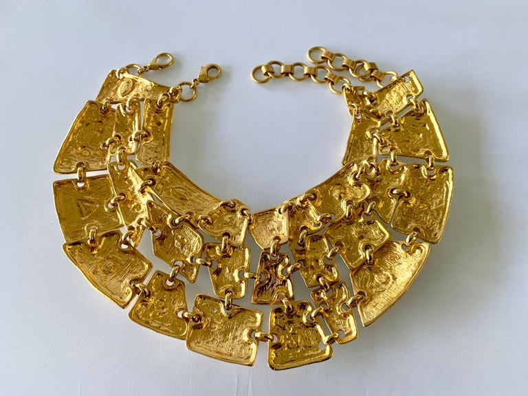 Vintage Christian Lacroix Gold Diamante Statement Runway Necklace For Sale 1
