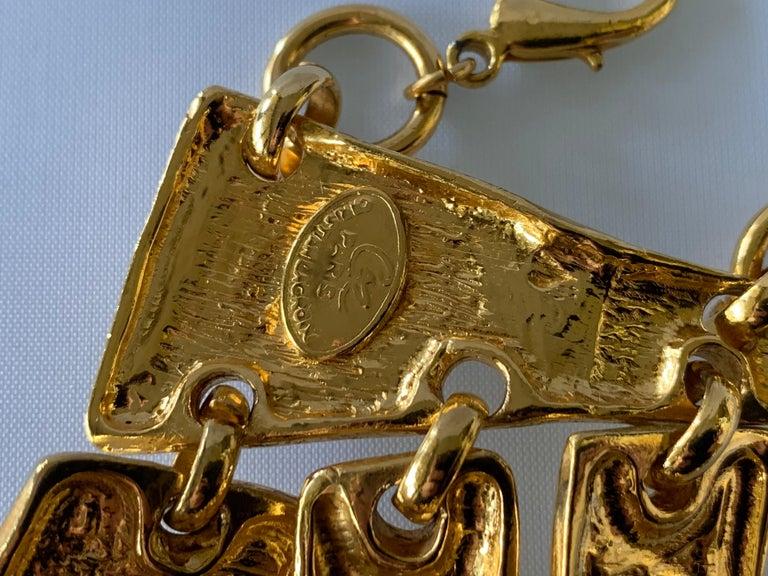 Vintage Christian Lacroix Gold Diamante Statement Runway Necklace For Sale 2