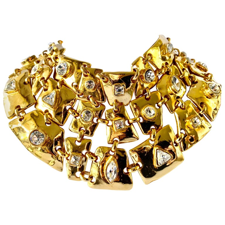 Vintage Christian Lacroix Gold Diamante Statement Runway Necklace For Sale