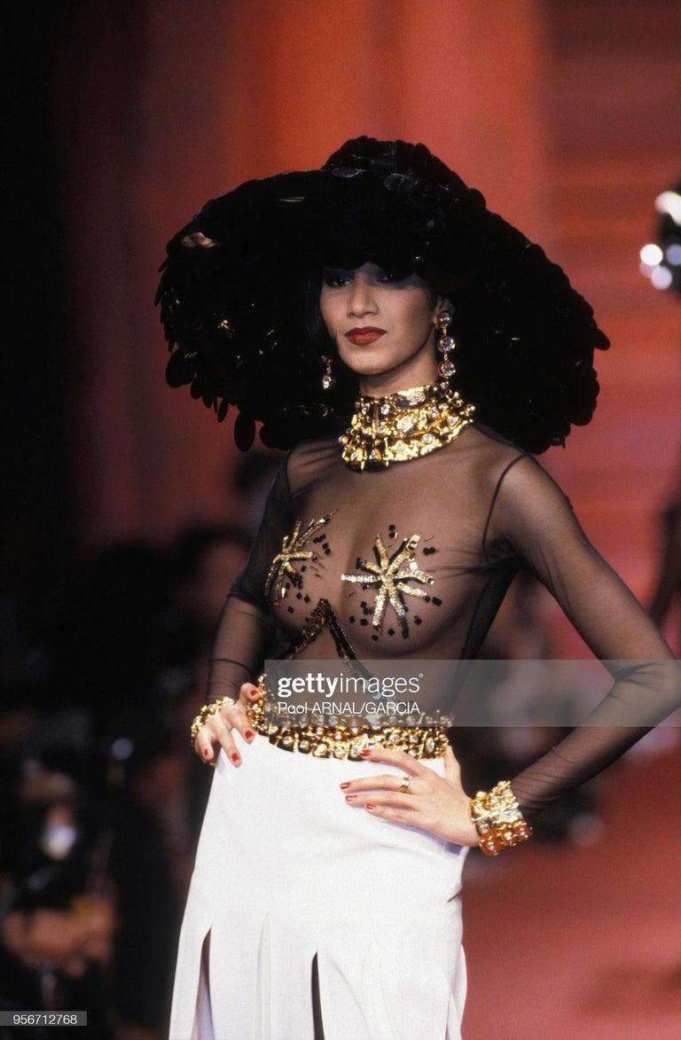 Vintage Christian Lacroix Gold Diamante Statement Runway Necklace For Sale 4