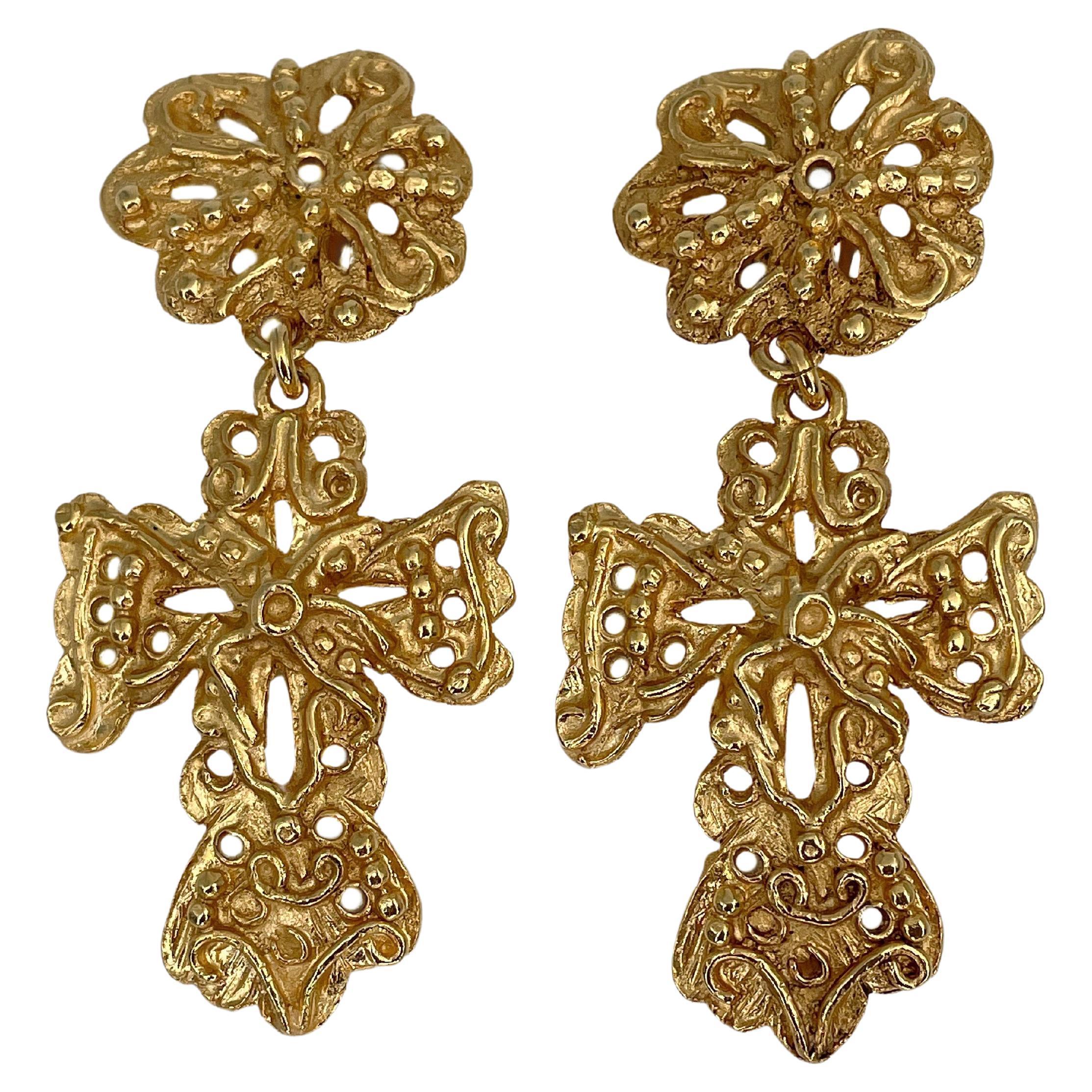 Vintage Christian Lacroix Gold Tone Cross Drop Clip on Earrings