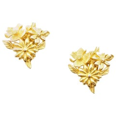 Vintage Christian Lacroix Gold Tone Flowers Clip On Earrings