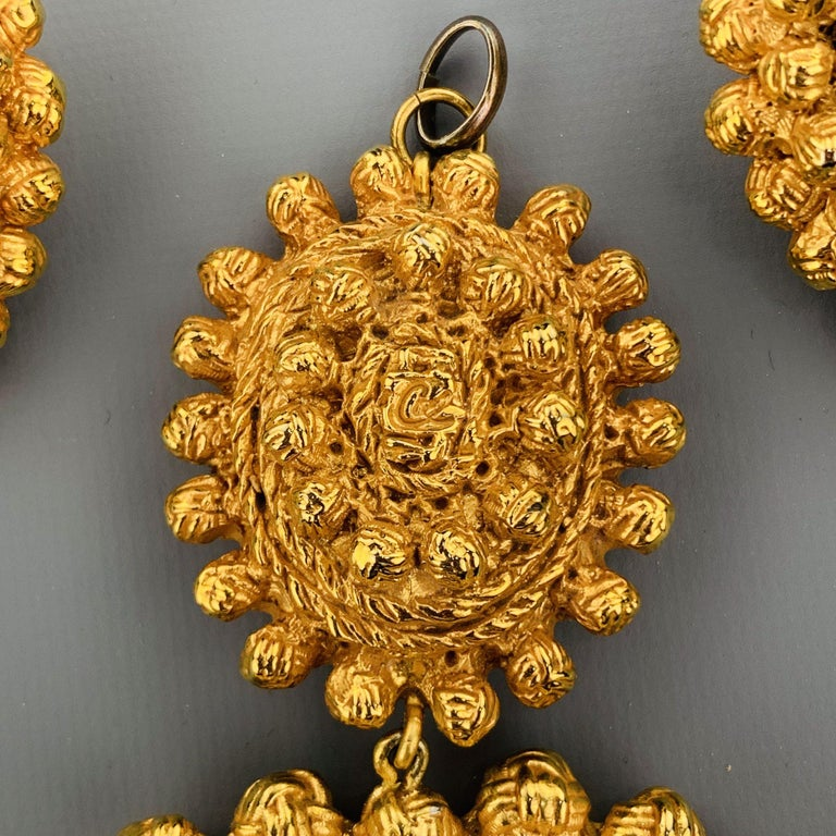 Women's Vintage CHRISTIAN LACROIX Gold Tone Heart Pendant Earrings Set For Sale