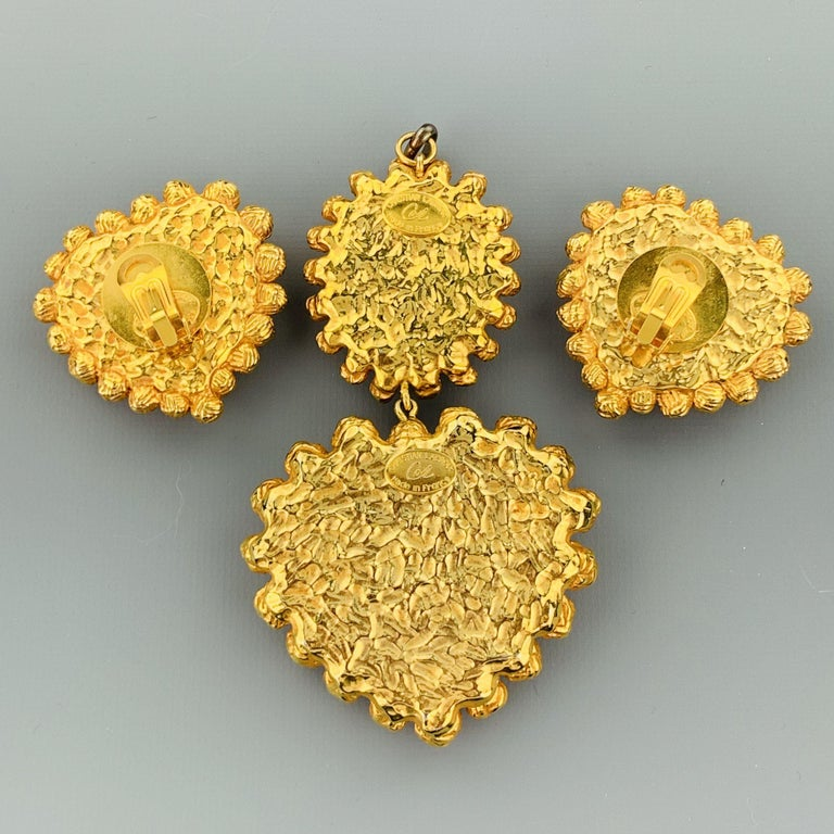 Vintage CHRISTIAN LACROIX Gold Tone Heart Pendant Earrings Set For Sale 3