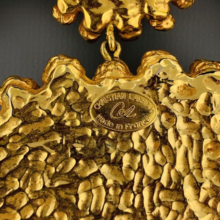 Vintage CHRISTIAN LACROIX Gold Tone Heart Pendant Earrings Set For Sale 4