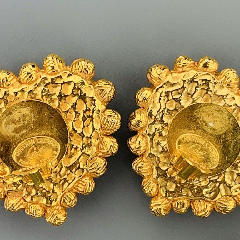 Vintage CHRISTIAN LACROIX Gold Tone Heart Pendant Earrings Set For Sale 5