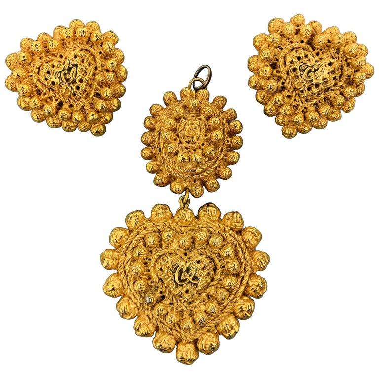 Vintage CHRISTIAN LACROIX Gold Tone Heart Pendant Earrings Set For Sale