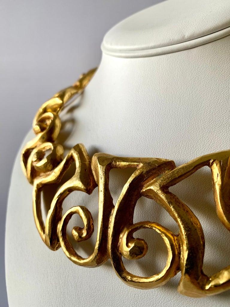 Contemporary Vintage Christian Lacroix Gold Tribal Statement Necklace  For Sale
