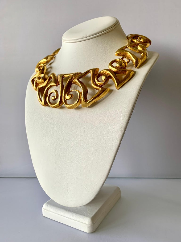 Vintage Christian Lacroix Gold Tribal Statement Necklace  In Excellent Condition For Sale In Palm Springs, CA