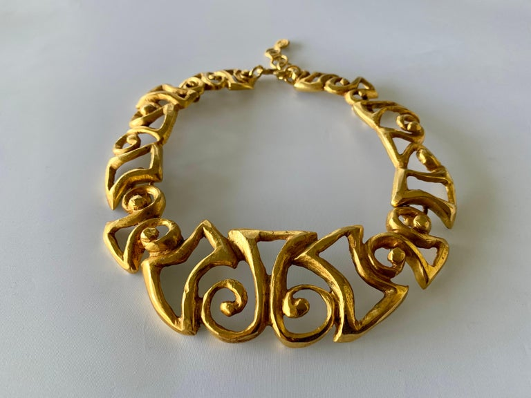 Women's Vintage Christian Lacroix Gold Tribal Statement Necklace  For Sale
