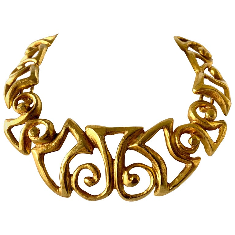 Vintage Christian Lacroix Gold Tribal Statement Necklace  For Sale