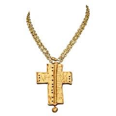 Vintage CHRISTIAN LACROIX Graffiti Cross Brooch Pendant Necklace