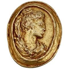 Vintage CHRISTIAN LACROIX Greek Roman Cameo Brooch